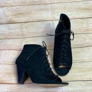 Vince Camuto lace up suede Elisha booties